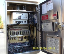 The inside view of a traffic signal panel